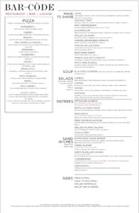 barcode fridays dinner menu